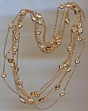 """SINGLE STRAND YELLOW GOLD PLATED12 CT TW 60"""" RUSSIAN CZ BY THE YARD NECKLACE"""