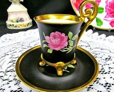 BEEHIVE GERMAN TEA CUP AND SAUCER DEMI FOOTED BLACK BEAUTY ROSE TEACUP PATTERN