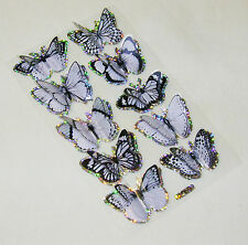 NEW 10 3D GLITTERY BUTTERFLY STICKERS SCRAPBOOK CARD MAKING WHITE & BLACK