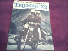 1972 Triumph motorcycle sales brochure(Reprint) All 1972 Model Triumph's $12