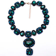 STUNNING ZARA SPARKLING ROYAL BLUE GREEN STONES STATEMENT NECKLACE NEW