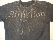 Affliction Los Angeles Angel Wings Art Design Tattered Edge Dark Gray T Shirt M