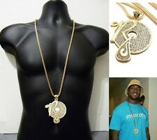 Iced Out Hip Hop Crystal Rocafella Records Pendant Necklace Franco Chain 36""