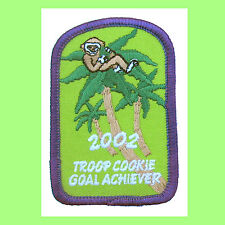 2002, COOKIE SALE PATCH Girl Scout GOAL ACHIEVER Swing into Action Monkey
