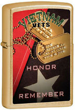 Vietnam Veterans  ~ Honor and Remember ~ Brushed Brass Military Zippo Lighter
