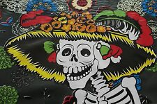 """Day of the Dead""Skeletons Mexican Multicolored Oilcloth   PVC Tablecloth Black"