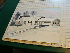 Vintage Painting, watercolor: HOUSE IN WINTER w snow, by Vera Nelson