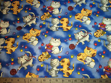 Timeless Treasures OOP C3621 Cats with Kittens yarn and bowls of fun multi blue