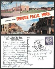 1961 Minnesota Postcard - Fergus Falls - Roosevelt High Scool and Lincoln Street