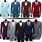Mens Three Piece Classic Set Vest Formal Working Jacket Groom Wedding Dress Suit