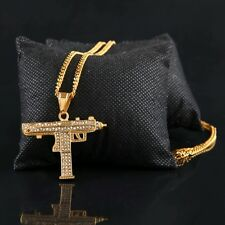 "18k Gold Uzi Iced Out Machine Gun Pendant Necklace 24"" Cuban Link Chain Supreme"