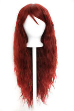 """30"""" Crimped Cut with Long Straigh Bangs Rustic Red Wig Synthetic Cosplay NEW"""
