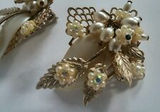 Vintage De Mario Haskell Style White Pearl Rhinestone Flower Gold Tone Earrings