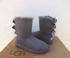 UGG GREY BAILEY BOW SUEDE/ SHEEPSKIN BOOTS, WOMENS US 6/ EUR 37  ~NEW