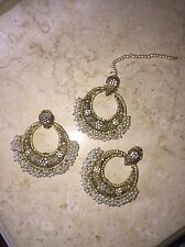 ETHNIC INDIAN PAKISTANI BRIDAL WEDDING PEARL KUNDAN CHANDBALI EARRINGS TIKKA