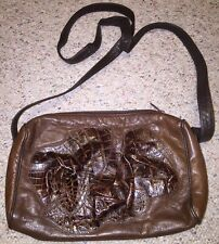 CARLOS FALCHI  Purse Handbag CROSS BODY Brown Croc/gator Stamped Raised Leather