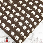 FQ. LITTLE WHITE ELEPHANT on DARK BROWN JAPANESE 100% Cotton Fabric Quilting J72