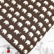 FQ. pequeño elefante blanco sobre marrón oscuro 100% tela de algodón acolchado japonés J72