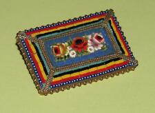 BIG ~ Vintage 1920s MICRO MOSAIC Glass TILE Rectangular BROOCH ~ Italy UNUSUAL