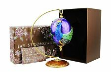 JAY STRONGWATER SAFARI PEACOCK OVAL EGG GLASS CHRISTMAS ORNAMENT NEW BOX W/STAND