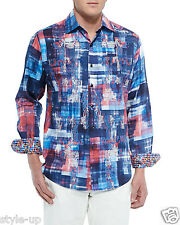 Robert Graham Colorful Abstract Embroidered Men's Club Shirt L Large NEW $298