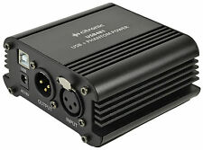 Phantom Power Supply 48V for Condenser Microphones Single Channel With USB 18VAC