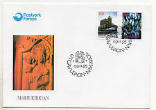 FAROE ISLANDS = 1995 Christmas, SG283/284 set/2 on unaddressed FDC.