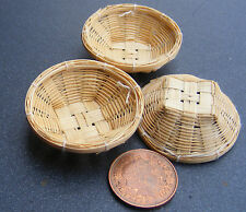 1:12 Handmade Bamboo Baskets (3) Dolls House Miniature Food Accessory Item Bs
