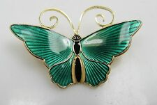 DAVID ANDERSEN GREEN ENAMEL BUTTERFLY PIN BROOCH GOLD OVER STERLING SILVER