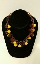 Art Deco Celluloid Chain Triangular Amber Butterscotch Bakelite Beaded Necklace