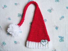 Handmade Crochet Personalized Baby Long tailed Elf Hat, Photo Prop (0-3 month)
