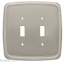double light switch cover rope wall plate satin nickel brainerd 126420. Black Bedroom Furniture Sets. Home Design Ideas