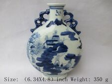 Exquisite ancient Chinese blue and white porcelain vase. Jiangnan scenery