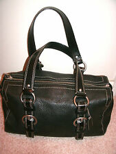 COACH CHELSEA LEATHER ZIP SATCHEL MEDIUM BLACK F10887