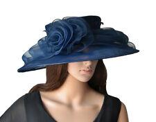 Elegante Cappello da donna BLU MARINA SCURO Organza Sposa Di Matrimonio