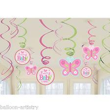12 poco Rosa Bienvenido Bebé Niña Shower Partido Colgante recorte remolinos Decoraciones