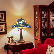 "Tiffany Style Golden Poppy Table Lamp Handcrafted Two Light 16"" Shade"