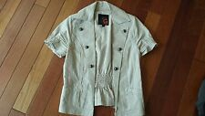 G by Guess short sleeve jacket blazer open-front S linen/cotton khaki woven slim