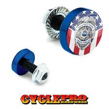2 Vivid Blue Billet License Plate Frame Tag Bolts -  POLICE BADGE USA FLAG - 154