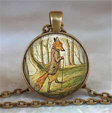 HOT Vintage Fox Cabochon Bronze Glass Chain Pendant Necklace #2