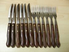 VINTAGE/RETRO wooden handle steak knives and forks by Richards of Sheffield