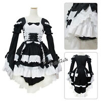 Lolita Girls Uniform Cosplay Costume Black Halloween Maid Outfit Party Dress