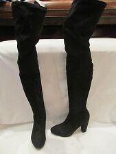 ASOS BLACK STRETCH OVER THE KNEE HIGH HEEL PULL ON BOOTS UK 8 (662)