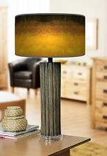 68cm Large Dark Bamboo Wood Table Lamp with Giclee Print Lampshade  Arte Ombre
