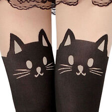 New Lady Enticing Cat Tail Tattoo Printed Knee High Stockings Tights Pantyhose