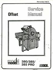 AB DICK  380/ 385/ 385 CD Service and Technical Manual Complete