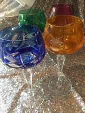 """Vintage Bohemian Colored Cut To Clear 8"""" Wine Glass Set of 4"""