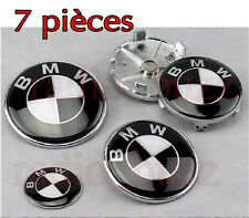 KIT 7 Badge Embleme LOGO BMW Noir BLACK - Capot + Coffre+ Volant + 4 Cache Jante