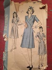 1940's Hollywood Wrap House Coat Vintage Dress Pattern  Size 38 Bust