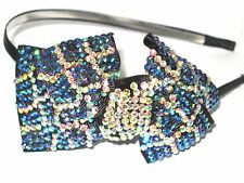 ROYAL BLUE & AB/IRIDESCENT Rhinestones Bow Headband*Ladies, Girls Hair Jewelry